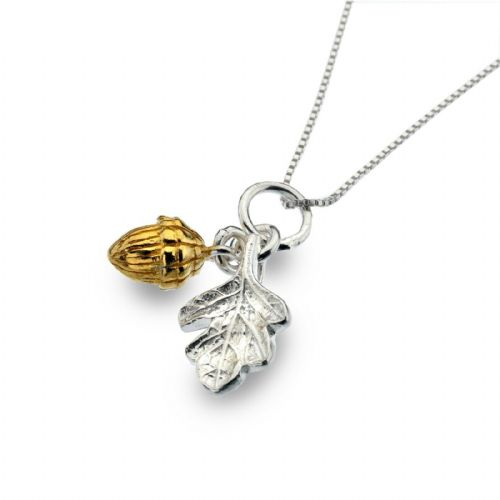 Oak Leaf Acorn Pendant Sterling Silver 925 Hallmark Gold Plate All Chain Lengths